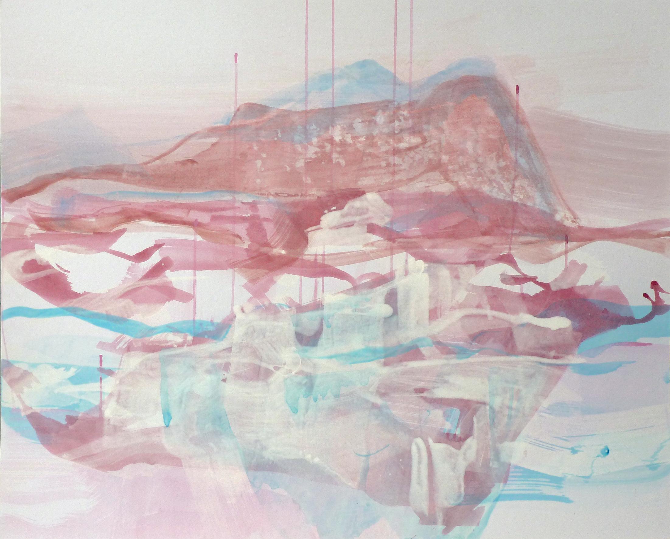 Bergspiegel, 2011, Acryl auf Papier, 80 x 100 cm © Uta Weil, VG Bild-Kunst, Bonn