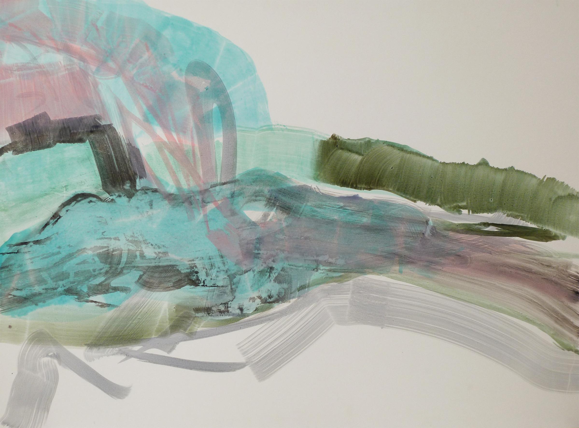 Hunsrück, 2011, Acryl auf Papier, 85 x 119 cm © Uta Weil, VG Bild-Kunst, Bonn