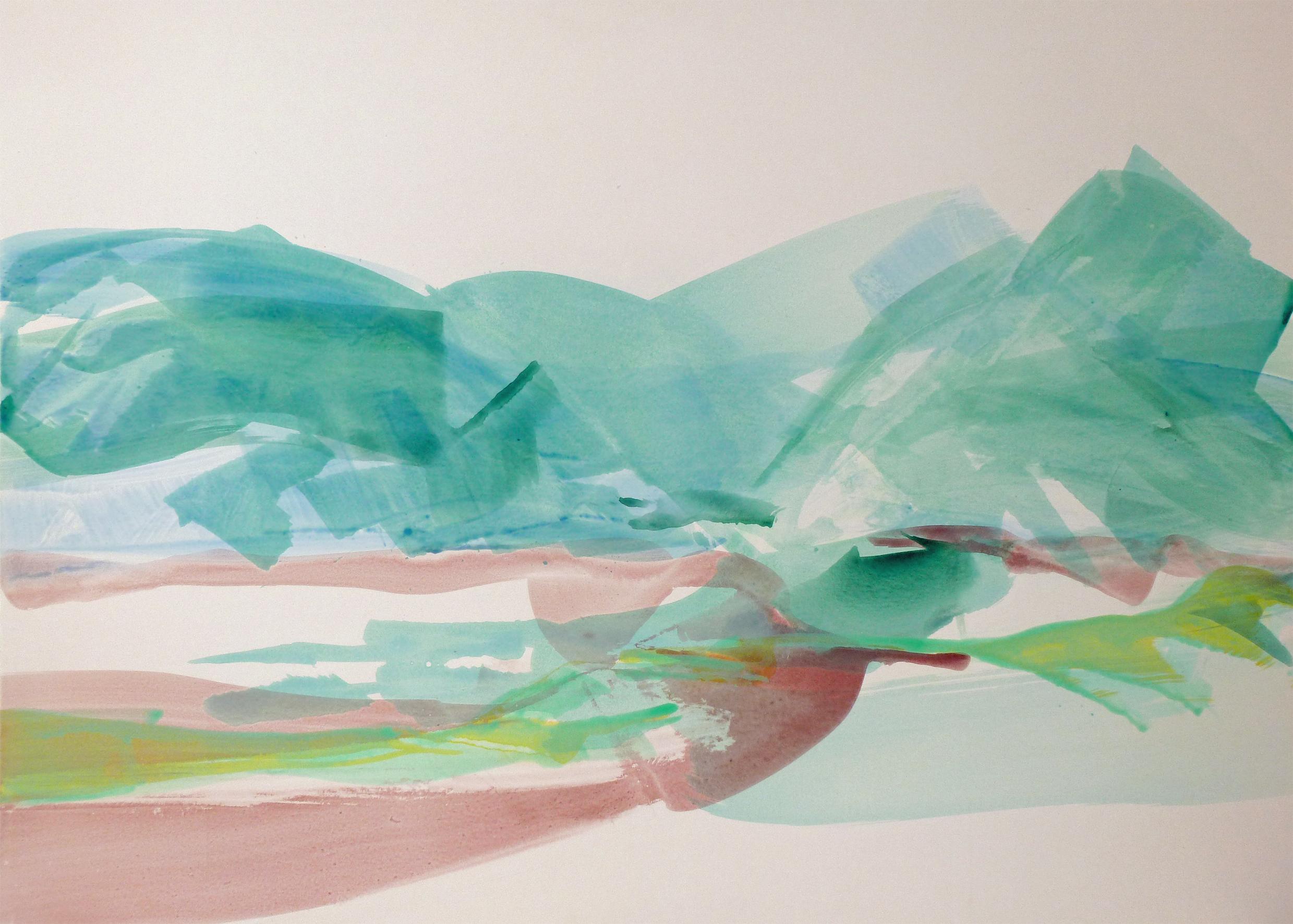 Lac du Bourget, 2011, Acryl auf Papier, 85 x 119 cm © Uta Weil, VG Bild-Kunst, Bonn