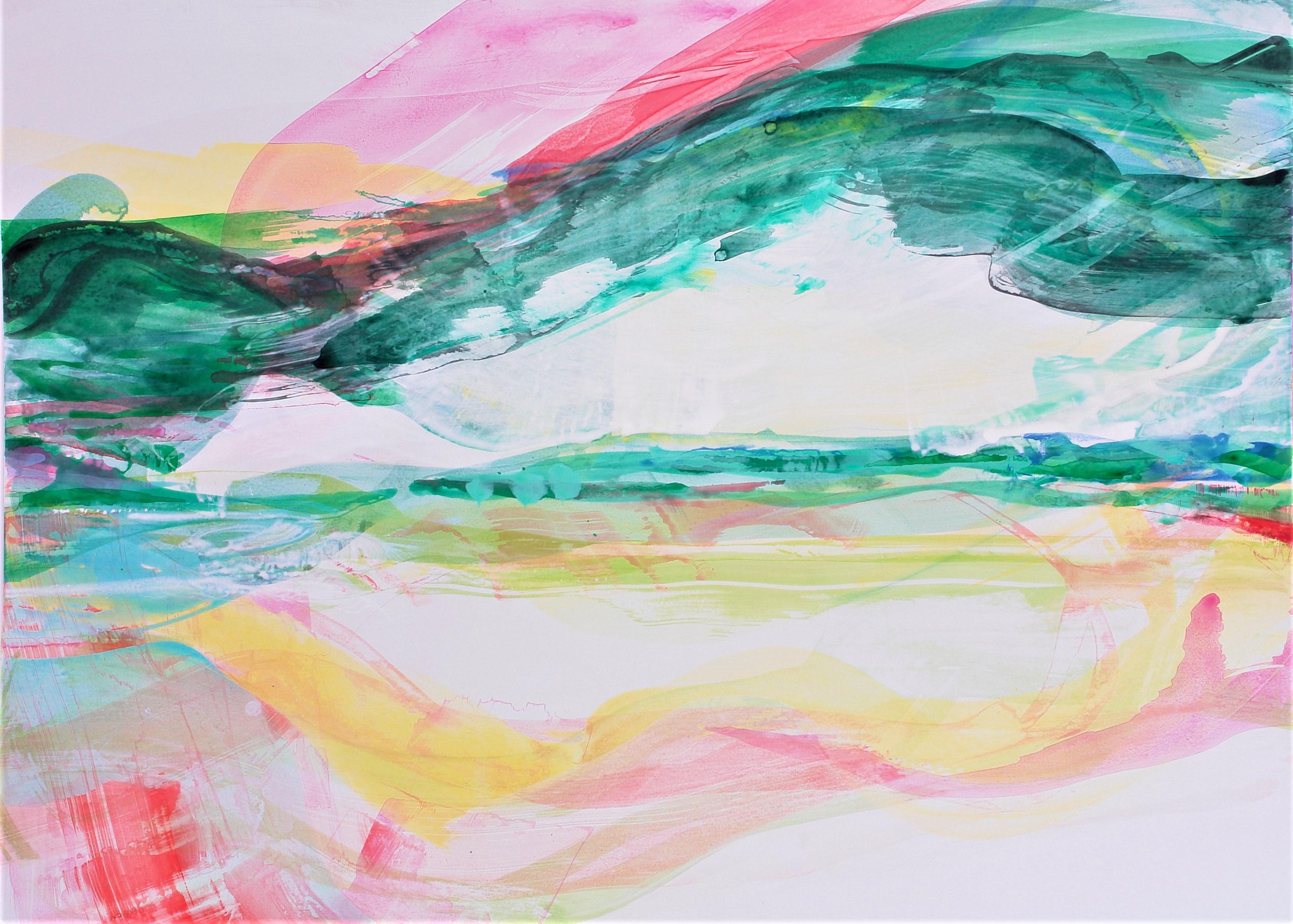 Bergwiese, 2014, Acryl auf Papier, 85 x 119 cm © Uta Weil, VG Bild-Kunst, Bonn