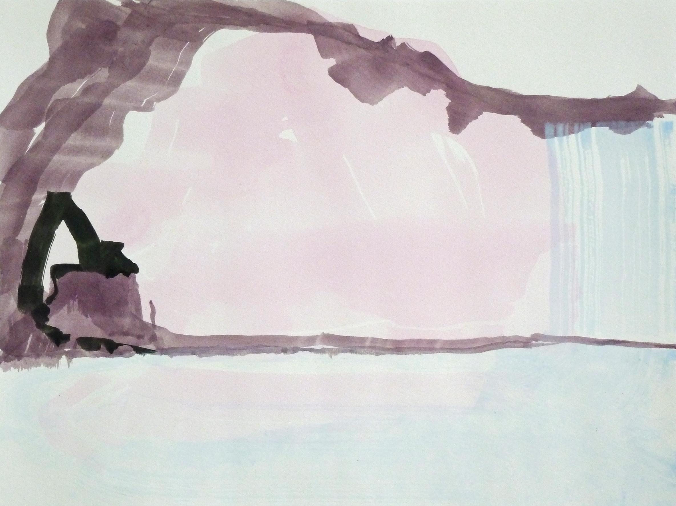 Wasserfall, 2011, Acryl auf Papier, 36 x 48 cm © Uta Weil, VG Bild-Kunst, Bonn